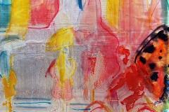 BICICLETTA ALATA 30x30 cm private collection mixed tecnique on canvas and  on plexiglas above