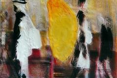 SOGNO GIALLO 70x70 cm private collection mixed tecnique on canvas and  on plexiglas above