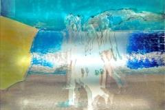 TRASPARENZE URBANE  88x 48 cm mixed tecnique on canvas and  on plexiglas above