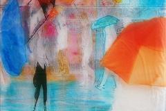 PIOGGIA COLORATE 100X 100   cm private collection mixed tecnique on canvas and  on plexiglas above