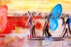 PENSIERI COLORATI  100 X 60 cm private collection mixed tecnique on canvas and  on plexiglas above