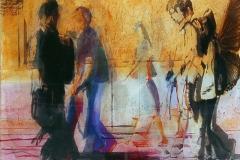 DIMENSIONI URBANE 70x70 cm private collection mixed tecnique on canvas and  on plexiglas above