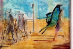 ALI URBANE 30x30 cm private collection mixed tecnique on canvas and  on plexiglas above