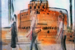 CASTELLO  private collection 40X40 cm mixed tecnique on canvas and  on plexiglas above