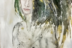 THE SEAWED WOMAN 60x90 cm  oil, acrylic and resin on canvas