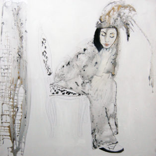 THINKING LIQUID 100x100 cm oil, acrylic and resin on canvas